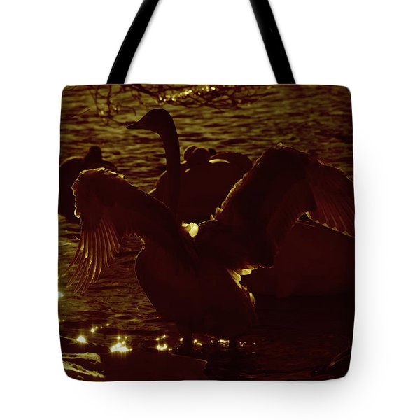 Swan Spreads Its Wings Wide Tote Bag by Toppart Sweden