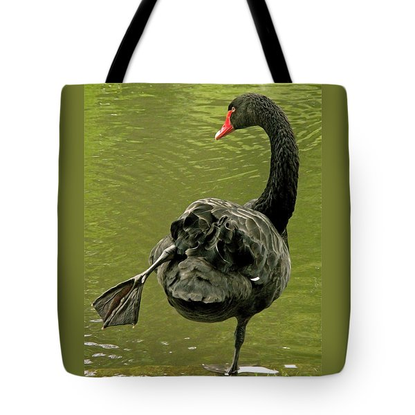 Swan Yoga Tote Bag by Rona Black