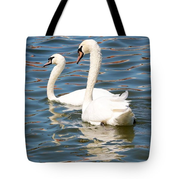 Swans And Swirls Tote Bag by Carol Groenen