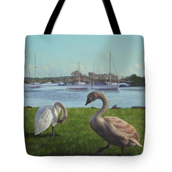 swans at Christchurch harbour Tote Bag by Martin Davey