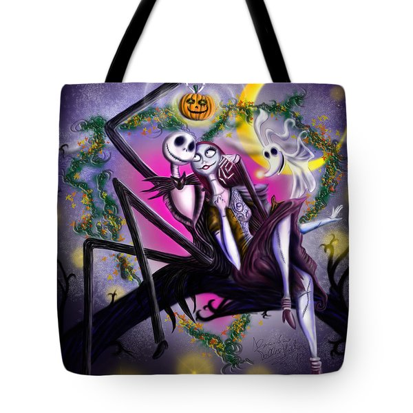 Sweet Loving Dreams In Halloween Night Tote Bag by Alessandro Della Pietra