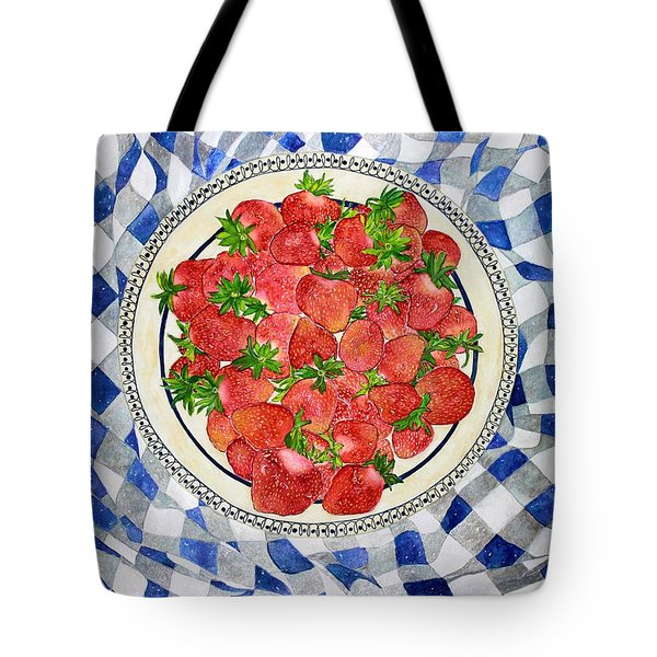 Sweet Strawberries Tote Bag by Janet Immordino