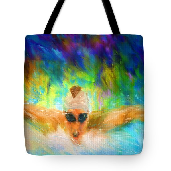 Swimming Fast Tote Bag by Lourry Legarde