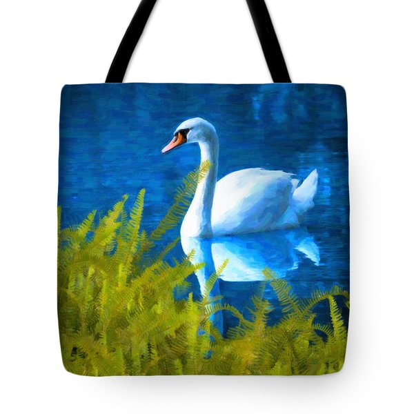 Swimming Swan And Ferns Tote Bag by Kenny Francis