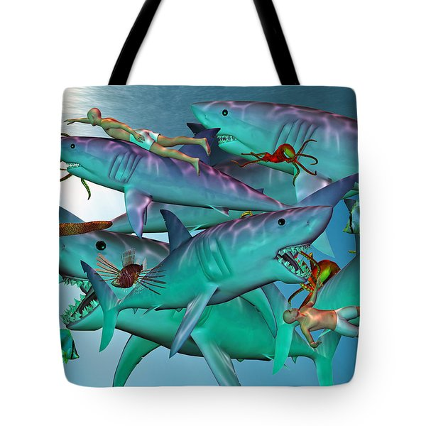 Swimming With The Big Boys Tote Bag by Betsy A  Cutler