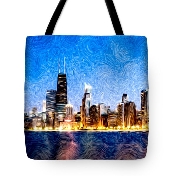 Swirly Chicago At Night Tote Bag by Paul Velgos