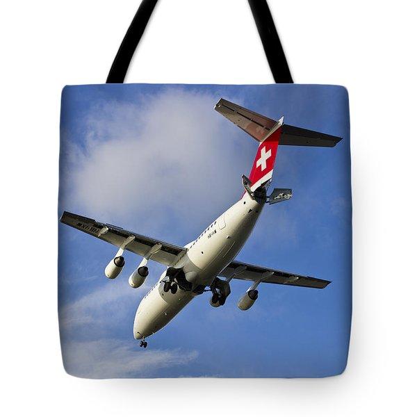 Swiss Air Bae146 Hb-ixw Tote Bag by David Pyatt