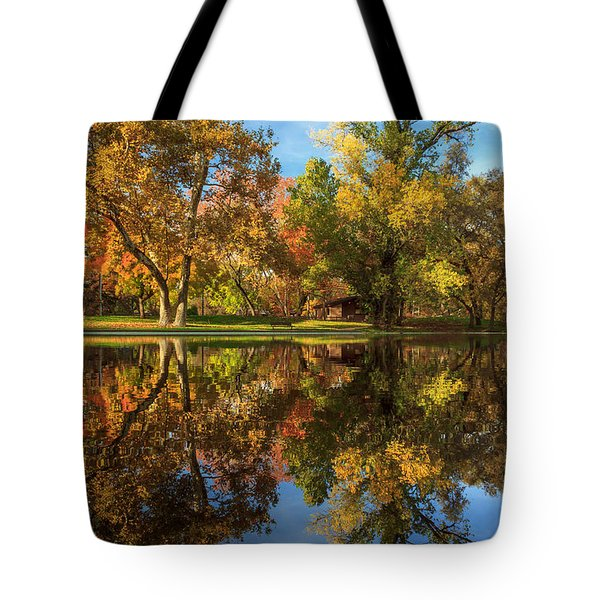 Sycamore Pool Reflections Tote Bag by James Eddy