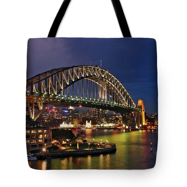 Sydney Harbour Bridge By Night Tote Bag by Kaye Menner