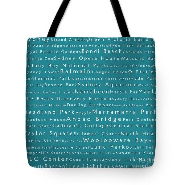 Sydney In Words Teal Tote Bag by Sabine Jacobs