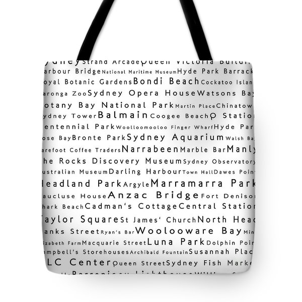 Sydney In Words White Tote Bag by Sabine Jacobs