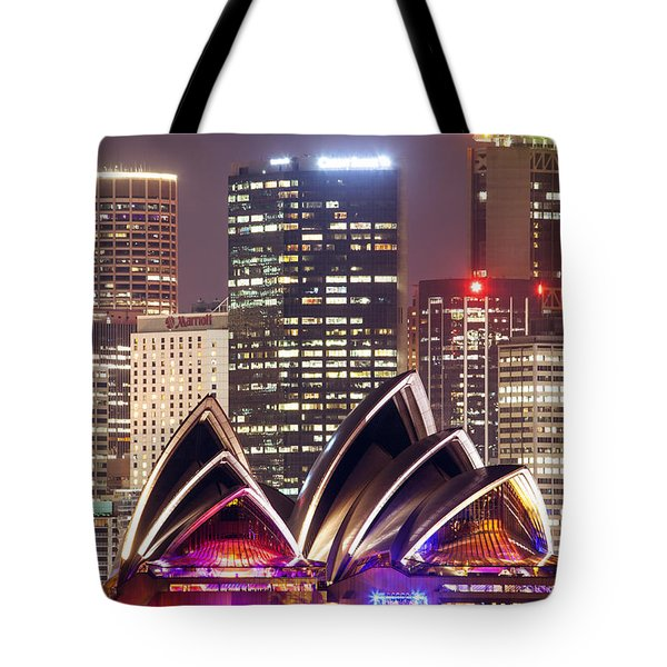 Sydney Skyline At Night With Opera House - Australia Tote Bag by Matteo Colombo