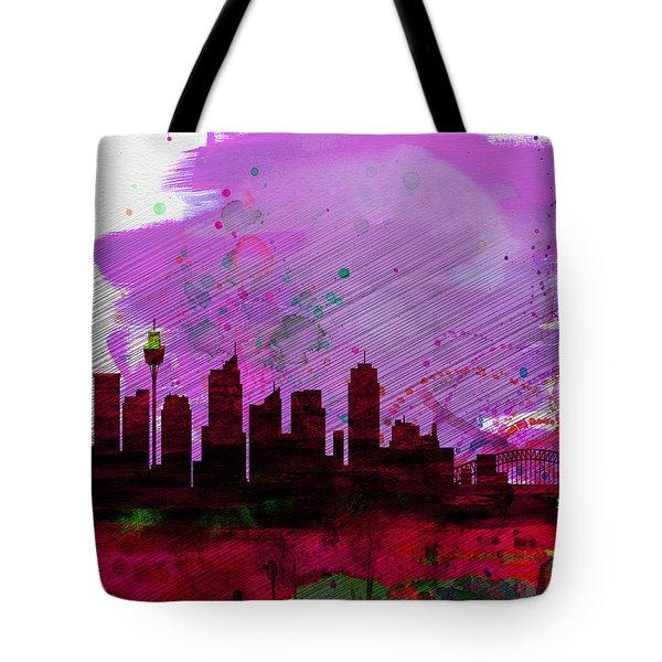 Sydney Watercolor Skyline 2 Tote Bag by Naxart Studio