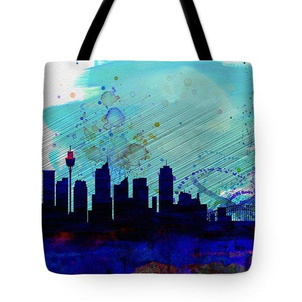 Sydney Watercolor Skyline Tote Bag by Naxart Studio