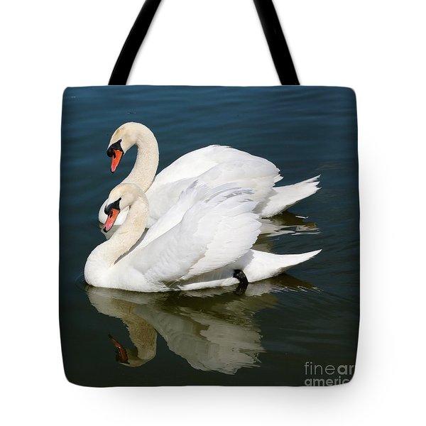 Synchronized Swans Tote Bag by Carol Groenen