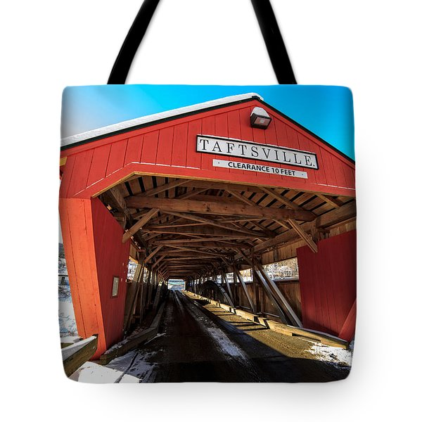 Taftsville Covered Bridge in Vermont in winter Tote Bag by Edward Fielding
