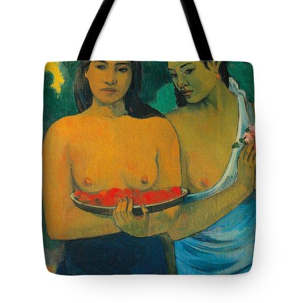 Tahiti Two Tahitian Women Tote Bag by Paul Gauguin