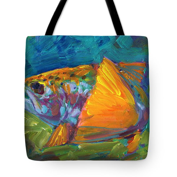 Tail View Trout Tote Bag by Mike Savlen