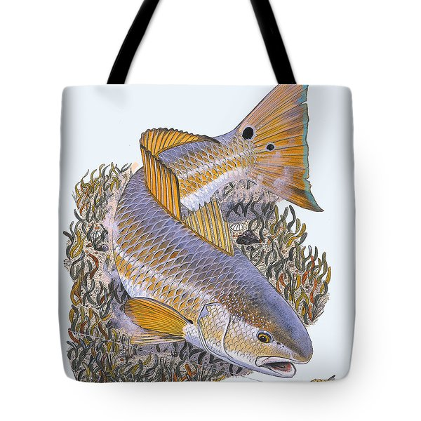Tailing Redfish Tote Bag by Carey Chen