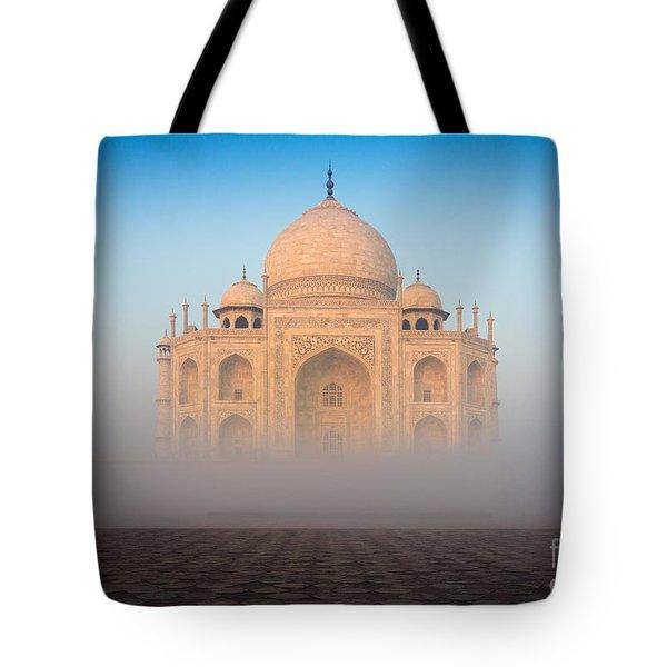 Taj Mahal In The Mist Tote Bag by Inge Johnsson