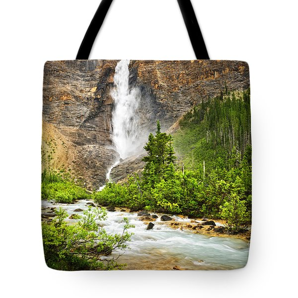 Takakkaw Falls waterfall in Yoho National Park Canada Tote Bag by Elena Elisseeva