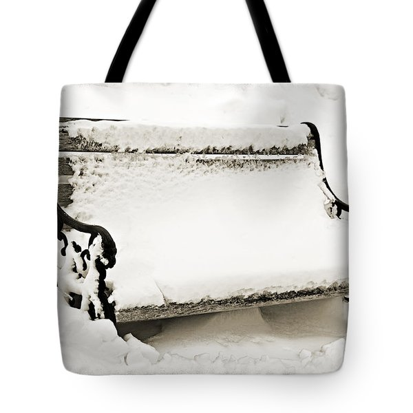 Take A Seat  And Chill Out - Park Bench - Winter - Snow Storm Bw 2 Tote Bag by Andee Design