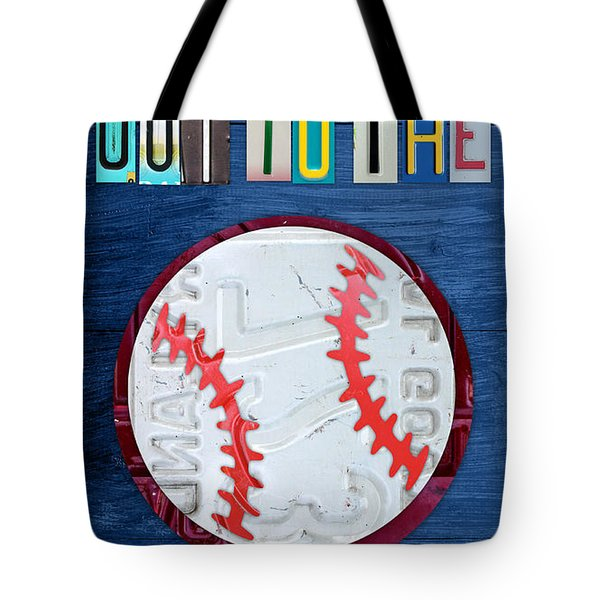 Take Me Out to the Ballgame License Plate Art Lettering Vintage Recycled Sign Tote Bag by Design Turnpike