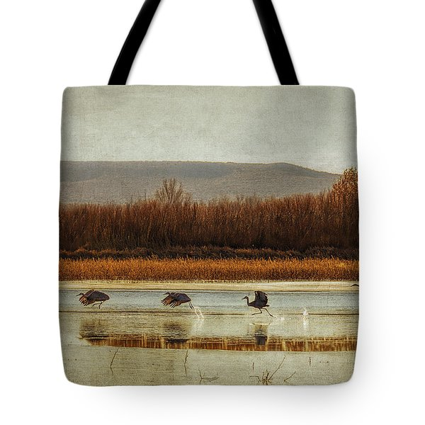 Takeoff Of The Cranes Tote Bag by Priscilla Burgers