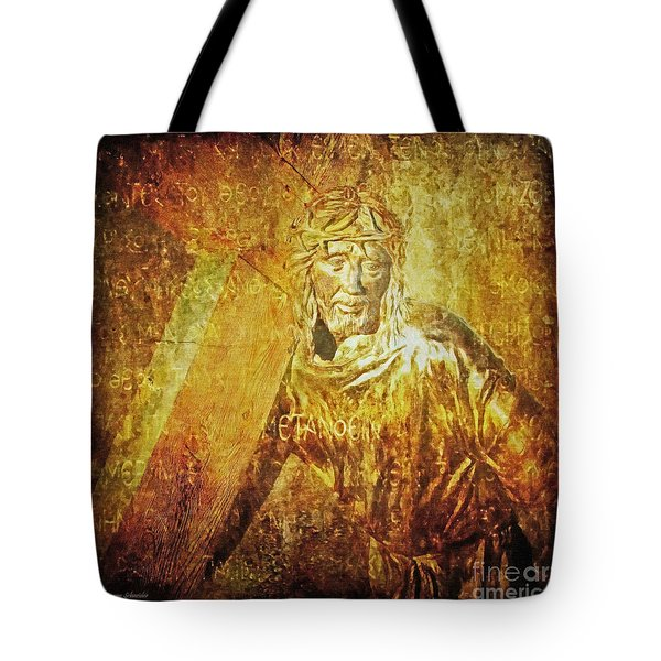 Takes Up The Cross  Via Dolorosa 2 Tote Bag by Lianne Schneider
