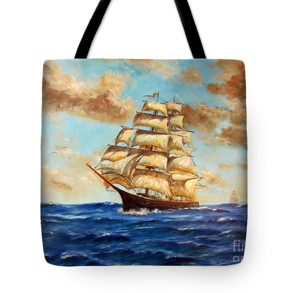 Tall Ship On The South Sea Tote Bag by Lee Piper