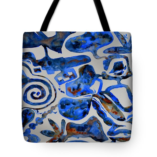 Tangled Up In Blue Tote Bag by Beverley Harper Tinsley
