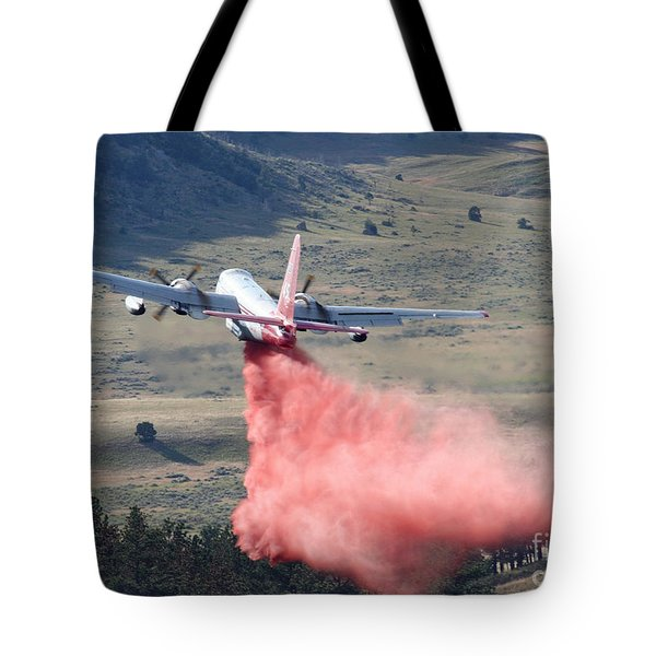 Tote Bag featuring the photograph Tanker 45 Dropping On Whoopup Fire by Bill Gabbert