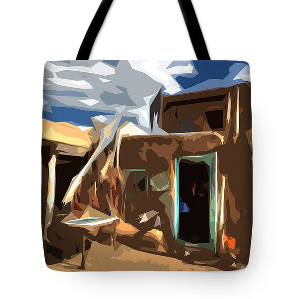 Taos Pueblo Abstract Tote Bag by K D Graves