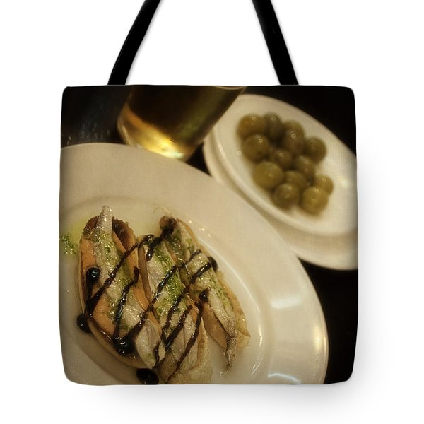Tapas In Seville Tote Bag by Mary Machare