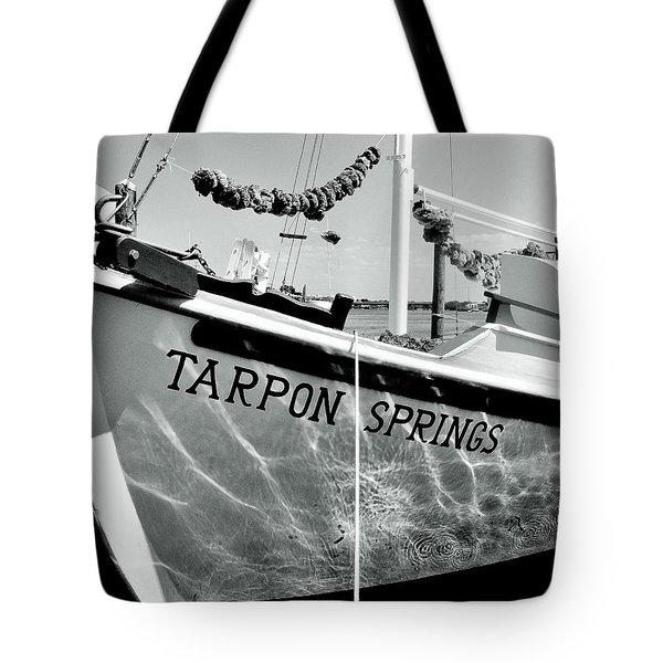 Tarpon Springs Spongeboat Black And White Tote Bag by Benjamin Yeager