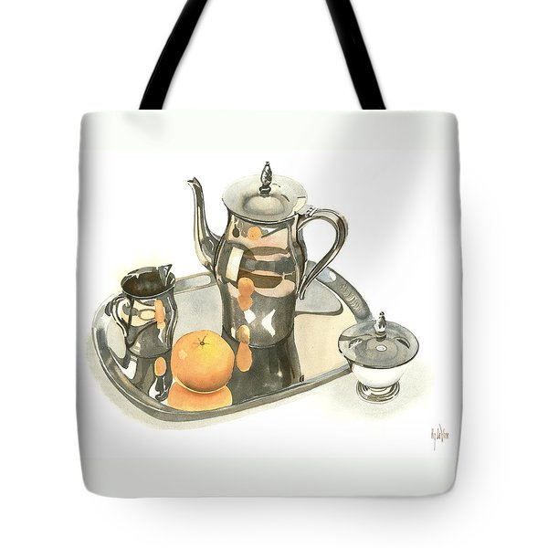 Tea Service With Orange Dramatic Tote Bag by Kip DeVore