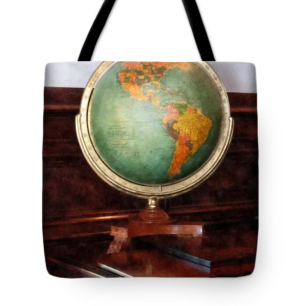 Teacher - Globe On Piano Tote Bag by Susan Savad