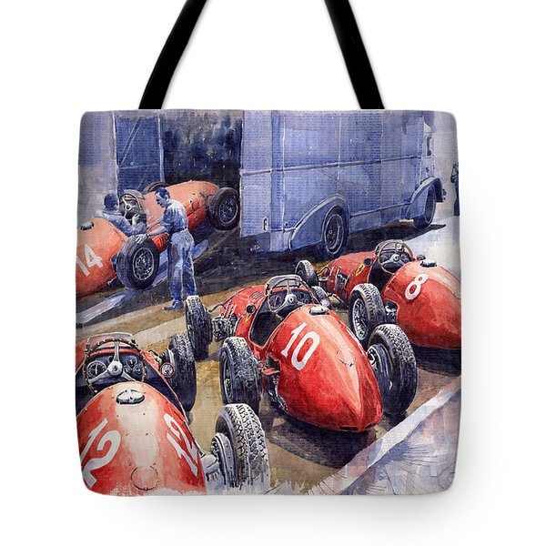 Team Ferrari 500 F2 1952 French GP Tote Bag by Yuriy  Shevchuk