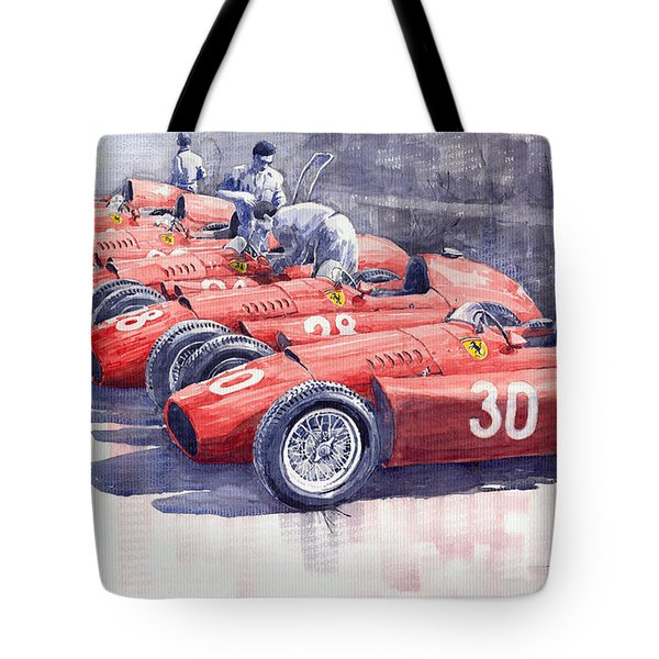 Team Lancia Ferrari D50 Type C 1956 Italian Gp Tote Bag by Yuriy  Shevchuk