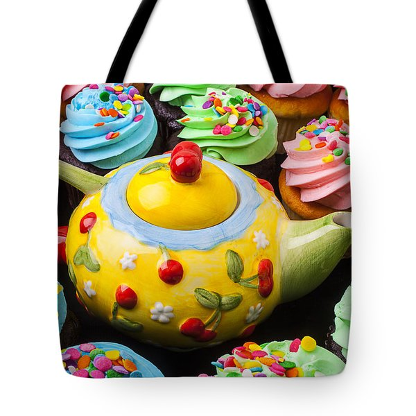 Teapot and cupcakes  Tote Bag by Garry Gay