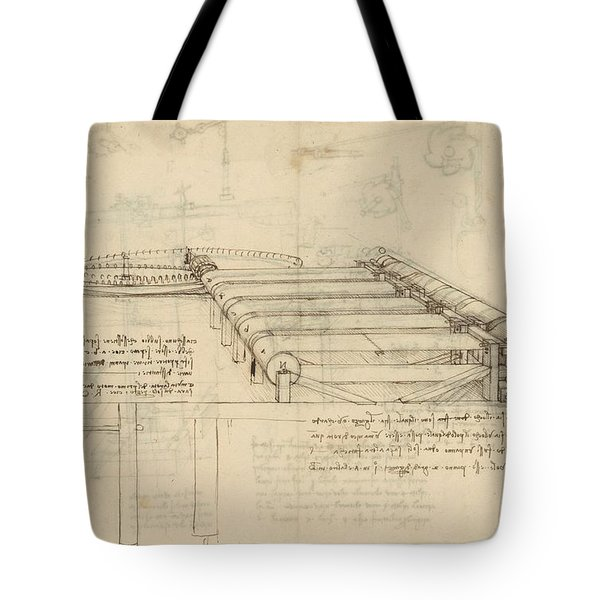 Teaselling Machine To Manufacture Plush Fabric From Atlantic Codex  Tote Bag by Leonardo Da Vinci