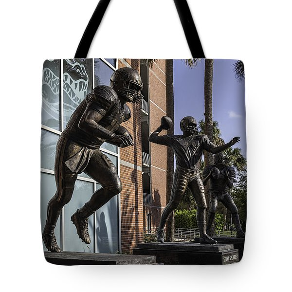 Tebow Spurrier and Wuerffel UF Heisman Winners Tote Bag by Lynn Palmer