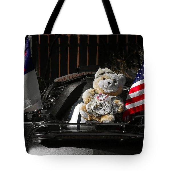 Teddy Bear Ridin' On Tote Bag by Christine Till