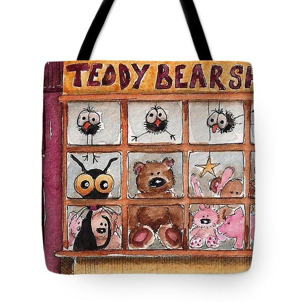 Teddy Bear Shop Tote Bag by Lucia Stewart