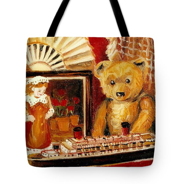 TEDDY BEAR WITH TUGBOAT DOLL AND FAN CHILDHOOD MEMORIES OLD TOYS AND COLLECTIBLES NOSTALGIC SCENES  Tote Bag by CAROLE SPANDAU