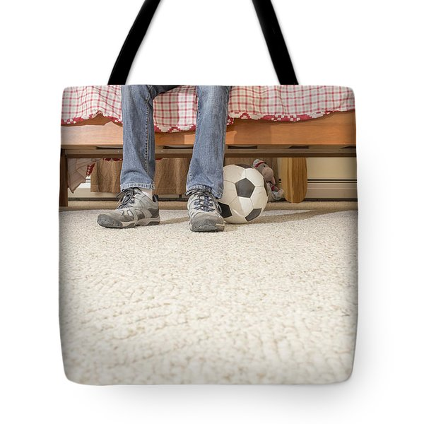 Teen boy in bedroom Tote Bag by Edward Fielding