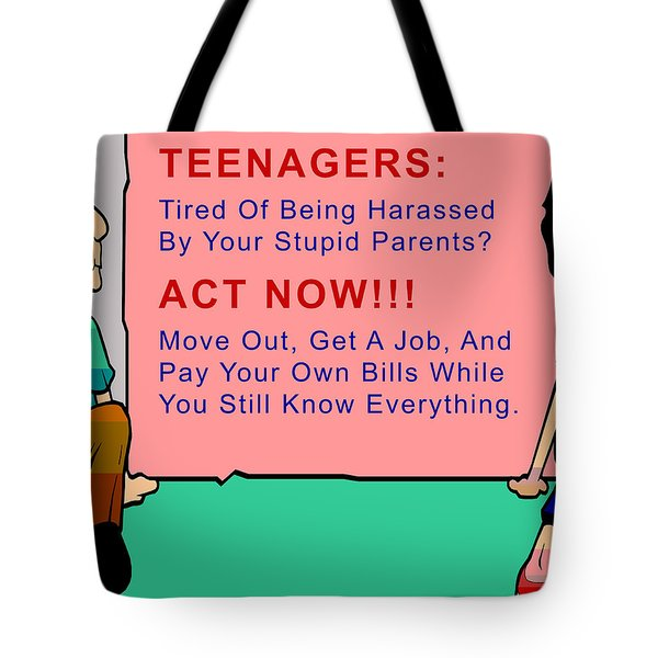 Teenagers Act Now Tote Bag by Barbara Snyder
