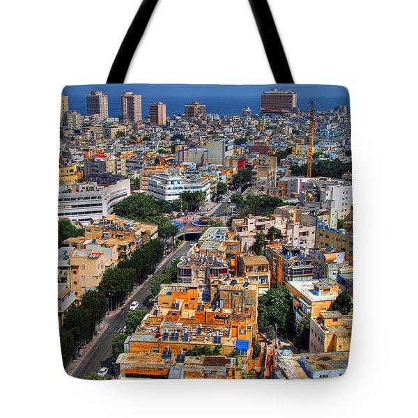 Tel Aviv Eagle Eye View Tote Bag by Ron Shoshani