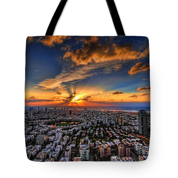 Tel Aviv sunset time Tote Bag by Ron Shoshani