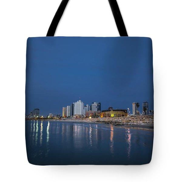 Tel Aviv The Blue Hour Tote Bag by Ron Shoshani